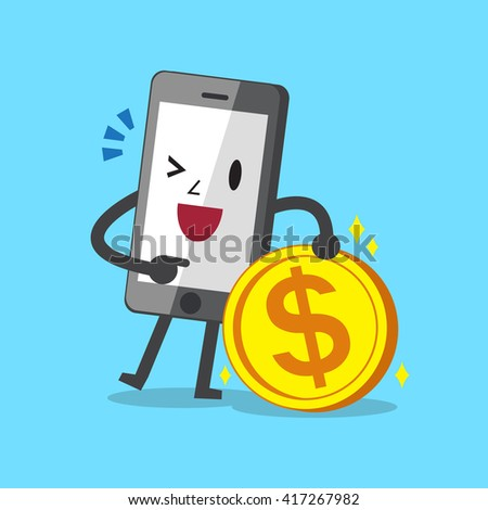 Business concept cartoon smartphone character and money coin - stock vector