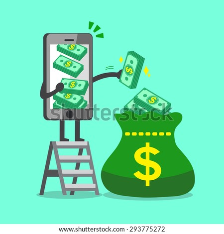 Business concept cartoon smartphone character putting money stack to a big bag - stock vector