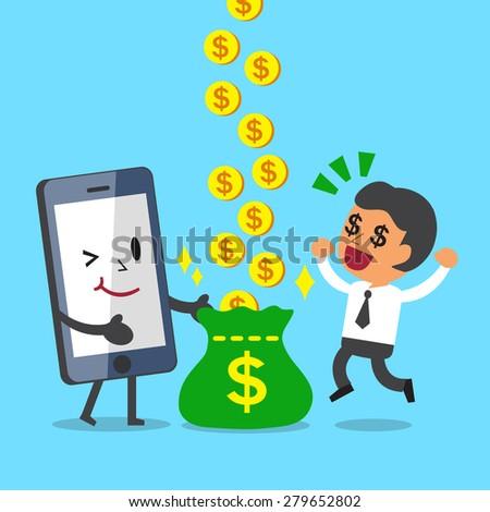 Business Concept Cartoon Smartphone Help Business Man to Earn Money - stock vector