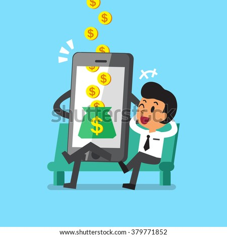 Business concept cartoon smartphone help businessman to earn money - stock vector