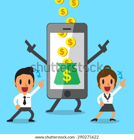 Business concept cartoon, smartphone helping business team to earn money - stock vector