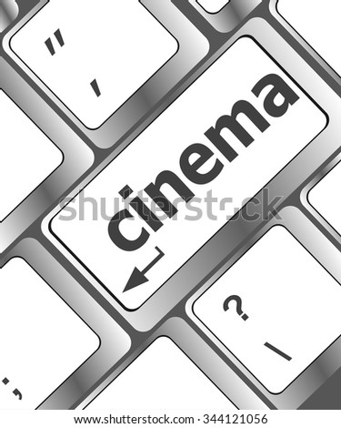 Business concept: Cinema key on the computer keyboard vector illustration - stock vector