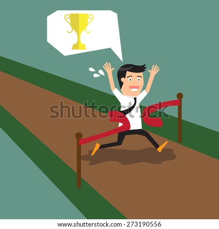 business concept competition. a successful businessman crossing the finish line. vector illustration. - stock vector