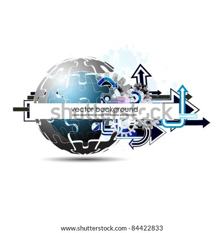 business concept design with arrows and gears - stock vector