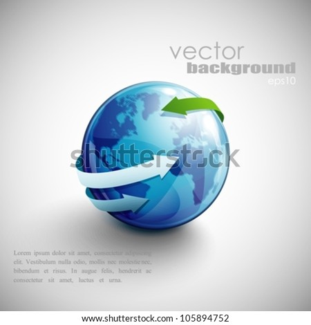 business concept design with blue globe and arrows - stock vector