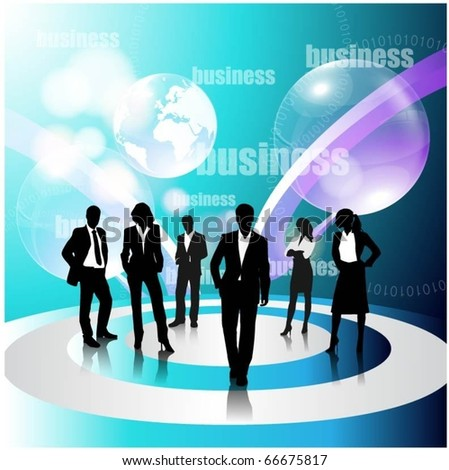 business concept design with business people team and globe - stock vector