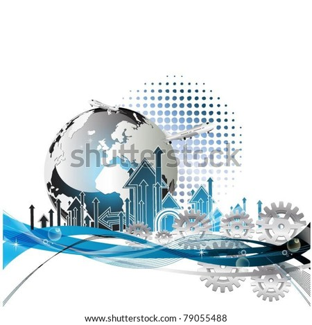 business concept design with globe and airplanes-vector - stock vector