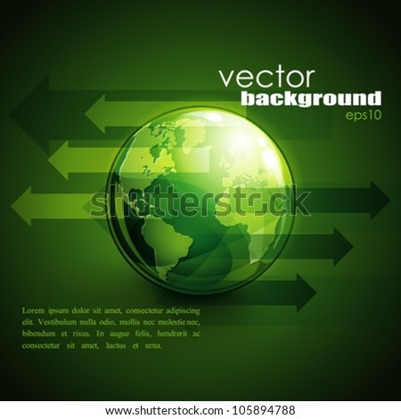 business concept design with green globe and arrows