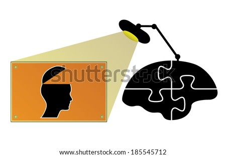Business concept design with lamp, brain and open head, creative vector design. - stock vector