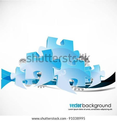business concept design with puzzle pieces - stock vector