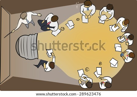Business concept. Figure with the image of the table in the form of light bulbs during the conference. - stock vector
