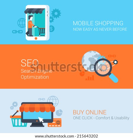Business concept flat icons set mobile online shopping internet purchase online sales seo and vector web illustration website click infographics elements - stock vector