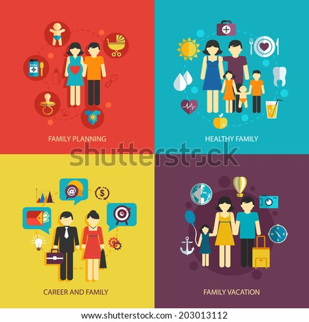 Business concept flat icons set of family planning health career and vacation infographic design elements vector illustration - stock vector