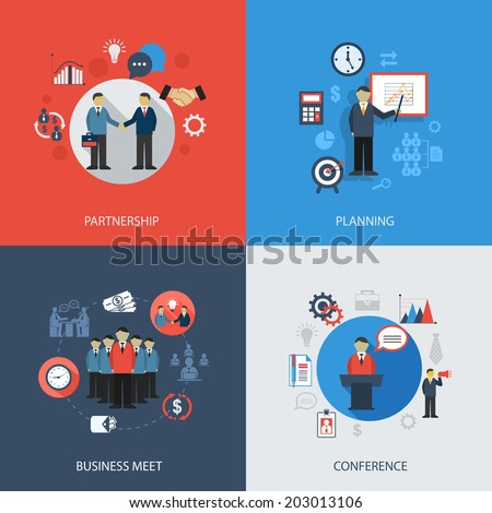 Business concept flat icons set of meeting partnership planning conference infographic design elements vector illustration - stock vector