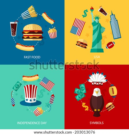Business concept flat icons set of USA landmarks and fast food independence day symbols infographic design elements vector illustration - stock vector