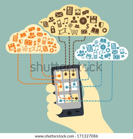 Business concept. Hand holding smartphone connected to cloud services with application media and social communications vector illustration - stock vector