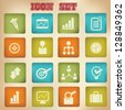Business concept,icon set,vector - stock photo
