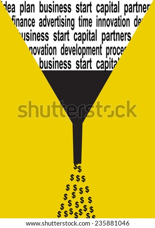 Business concept illustration of a dollar sign, silhouette watering and words - stock vector