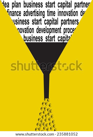 Business concept illustration of euro symbol, silhouette watering can and words - stock vector