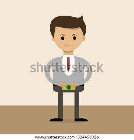 Business concept in flat design. Salary. Vector illustration - stock vector