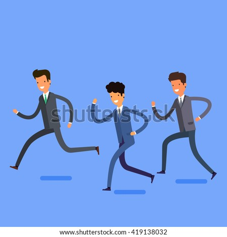 Business concept in winning and successful team. Cartoon business people running into the same direction with happy and cheerful expression. Flat design, vector illustration. - stock vector