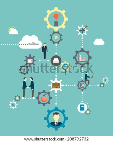 Business concept. Infographics template with icons, gears and lines? - stock vector