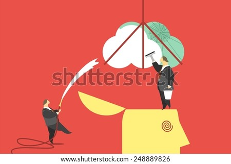 business concept little people wash and clean the human brain metaphor of brainwashing - stock vector