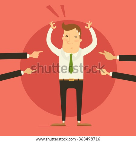Business concept - man getting blamed by colleagues / bosses. Vector illustration - stock vector