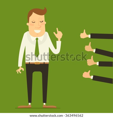 Business concept - man getting praise by colleagues / bosses. Vector illustration - stock vector