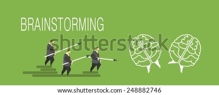 business concept man pushing forward on the brain metaphor brainstorming - stock vector