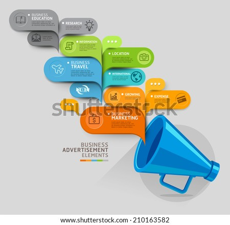 Business concept. Megaphone and bubble speech template. Vector illustration. can be used for workflow layout, diagram, number options, step up options, web design, banner template, infographic. - stock vector