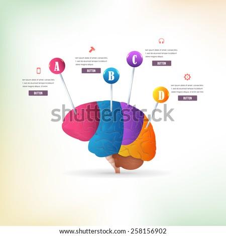 Business Concept Multicolor Brain Idea, Health or Capacity Infographics Arrow Vector Design - stock vector