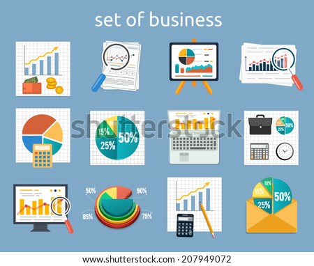 Business concept of analytics. Stand with charts and parameters. Set of various financial service items, business management symbol, marketing items and office equipment - stock vector