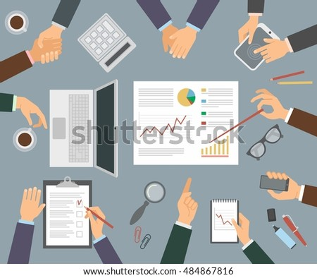Business concept of hand in many characters, presenting, showing, using tablet and smart phone, handshake, applause, and holding coffee.