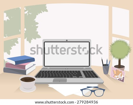 Business concept. Office interior, workplace organization - stock vector
