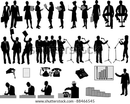 Business concept - people and icons - stock vector
