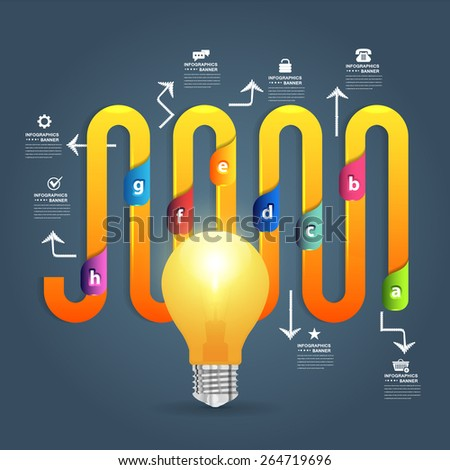 Business Concept Realistic Bulb and Numbered Infographics  - stock vector