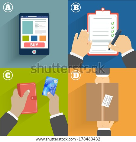 Business concept. Set of hands clients purchasing - stock vector