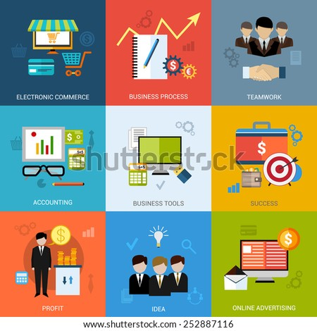 Business concept set with electronic commerce teamwork accounting tools icons isolated vector illustration - stock vector