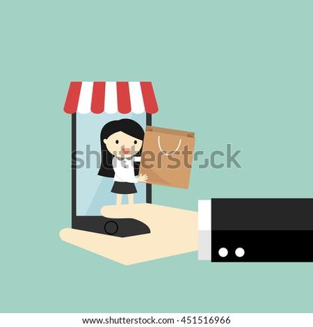 Business concept, Shopping online via smartphone. Vector illustration - stock vector