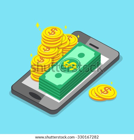 Business concept smartphone and money - stock vector
