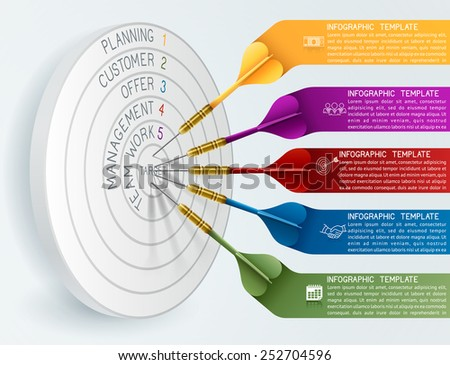 Business concept template Business target reaching idea with dart. Can be used for education, banner, template, diagram. EPS 10 contains transparency - stock vector