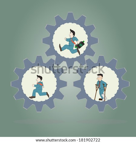 Business concept.Three Businessman wearing suits running inside of metal gear and man standing injured .Vector illustration. - stock vector