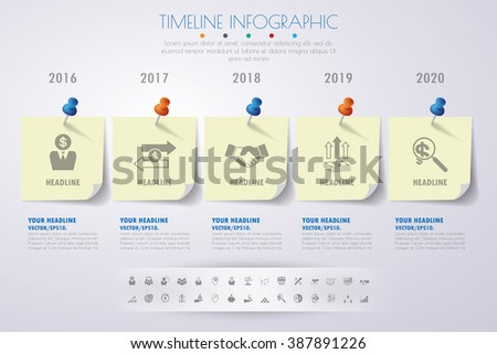 business concept timeline. Infograph template, realistic paper 5 steps infographic, vector banner can be used for workflow layout, diagram,presentation, education or any number option. - stock vector