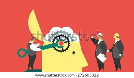 business concept to twist the brain to repair damage to the stylized character twists bolts in the brain - stock vector