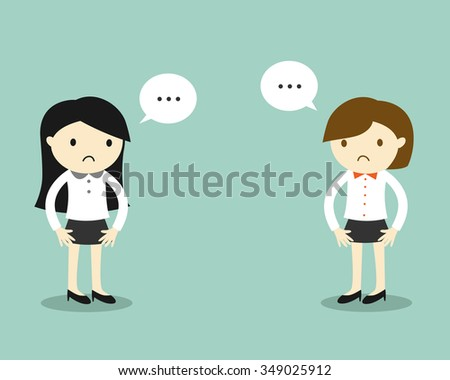 Business concept, Two business women feeling awkward with each other. Vector illustration. - stock vector