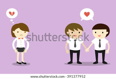 Business concept, Two businessmen feeling love each other, but another business woman is broken heart. Vector illustration. - stock vector