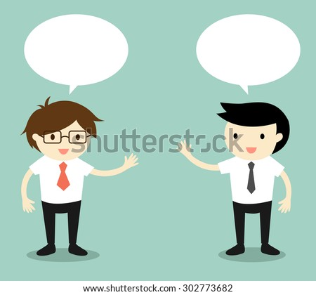 Business concept, two businessmen talking. Vector illustration.