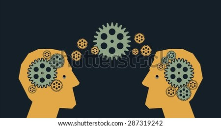 Business concept Two silhouette head man in the rotating gear symbolizes the thinking, the idea - stock vector