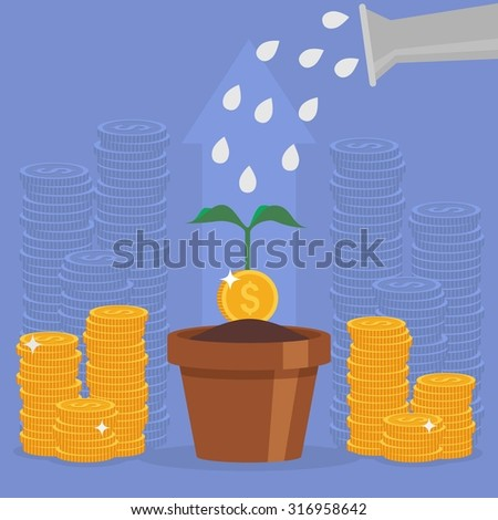 Business concept vector illustration in flat style. Money investment concept. Money Growth. Business person watering money tree. Dollar coins stack. - stock vector